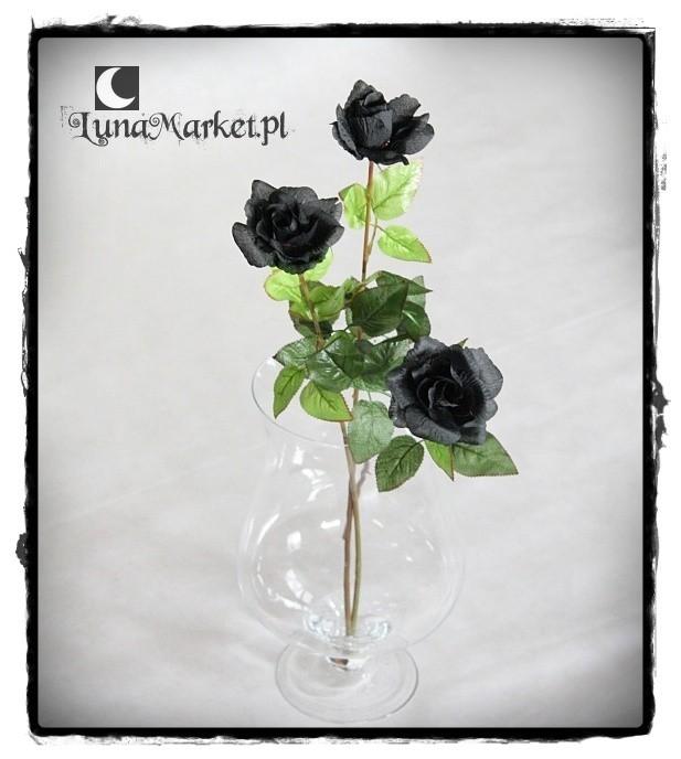 Lunamarketpl Czarna Róża Kwiat Sztuczny Black Rose Gothic